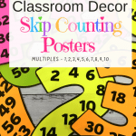 Skip Counting Classroom Posters are the perfect addition to your classroom decor. Time Saving Resources To help Your kids learn and memorize skip counting patterns.Get FREEBIE from website! #teacherfreebie #skipcounting #numbersense via @Useful1