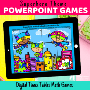 Superhero Times Tables Powerpoint Puzzles